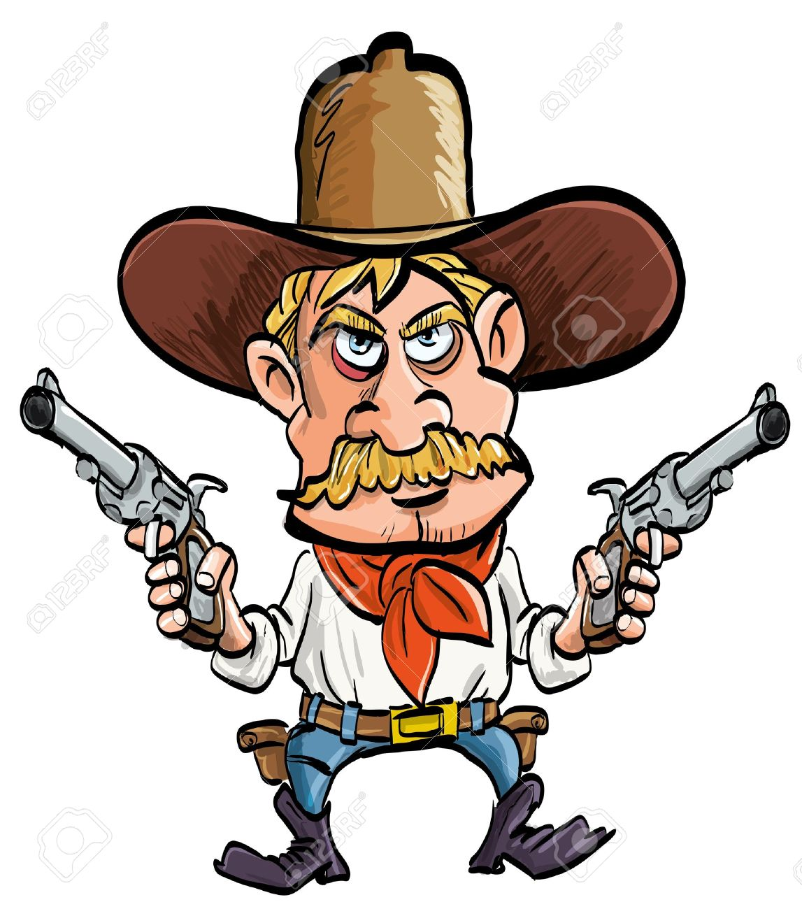 Cartoon Cowboy With His Guns Drawn Isolated On White Royalty Free Cliparts Vectors And Stock Illustration Image 14227550