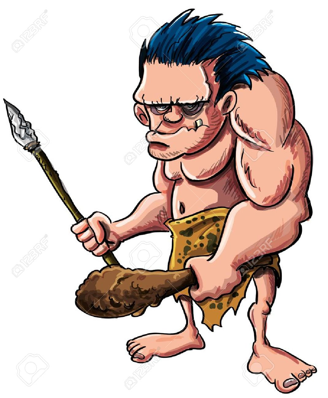 Cartoon illustration of a stooped muscular caveman or troglodyte in an animal skin loincloth brandishing a wooden cudgel and stone tipped spear isolated on white Stock Vector - 18169209