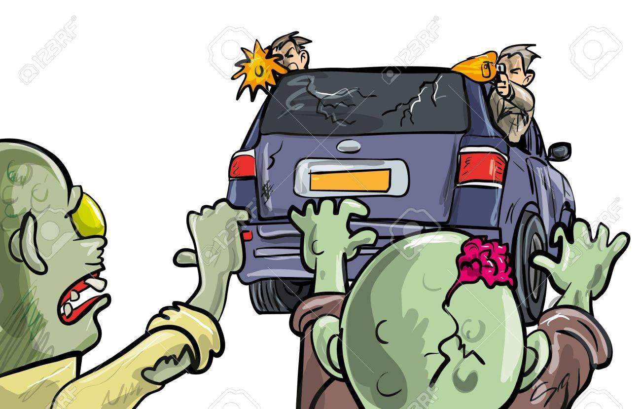 Two undead zombies pusuing a car during the Apocalypse intent on destruction with two men leaning out of the windows firing handguns at them as they stay on the move to survive - 18870968