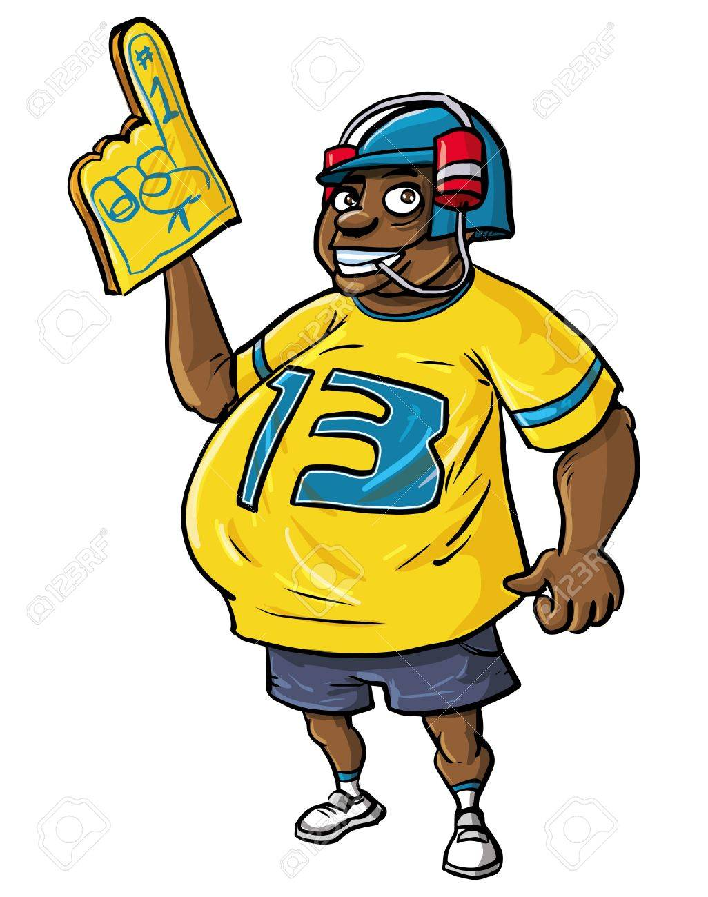 sports fan clipart. overweight sports fan with a large belly and happy smile wearing number 13 t clipart