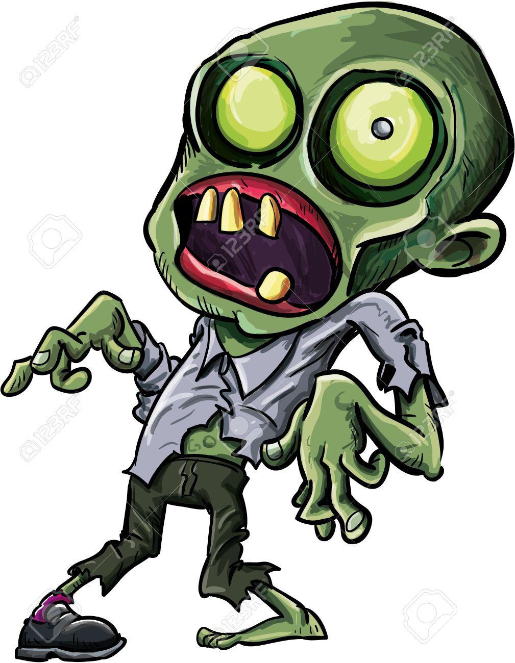 Foto de archivo , Vector ilustraci?n de un zombie de dibujos animados con un ojo verde grotesco, fractura de cr?neo y ropa andrajosa aislados en blanco para