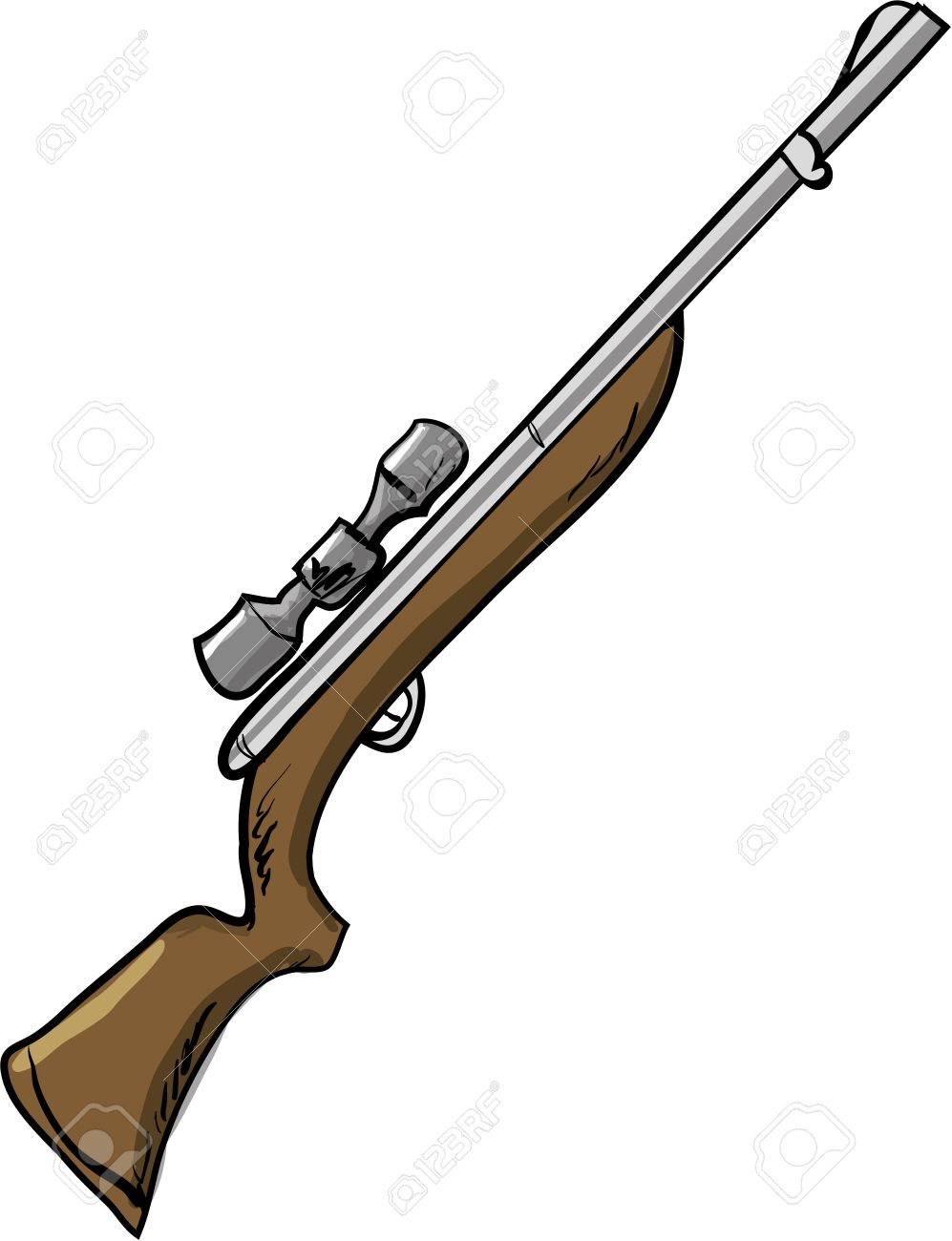 Illustration of a hunting rifle  Isolated on white Stock Vector - 19731212