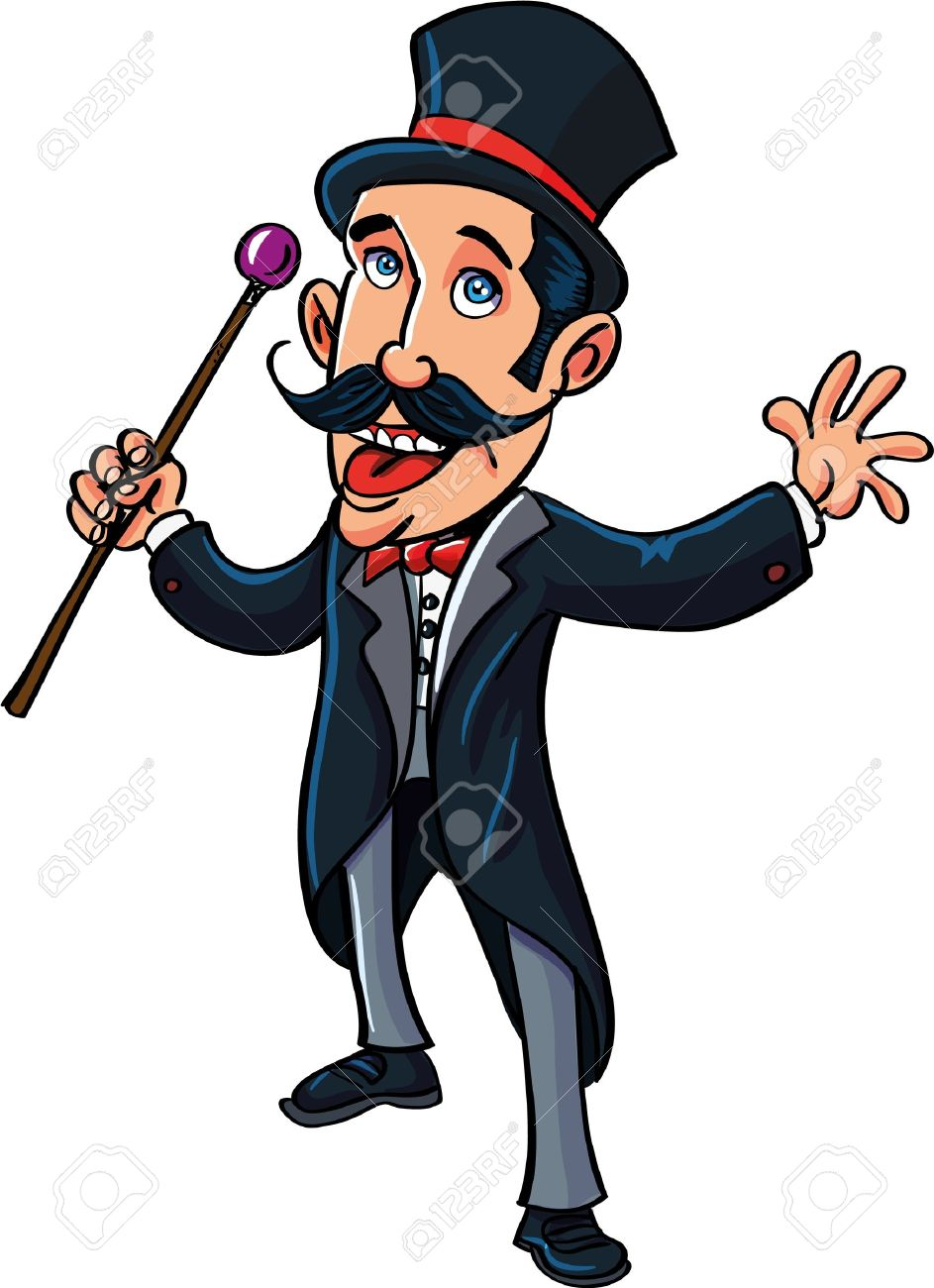 Cartoon circus ring master with a cane. isolated on white Stock Vector - 21020884