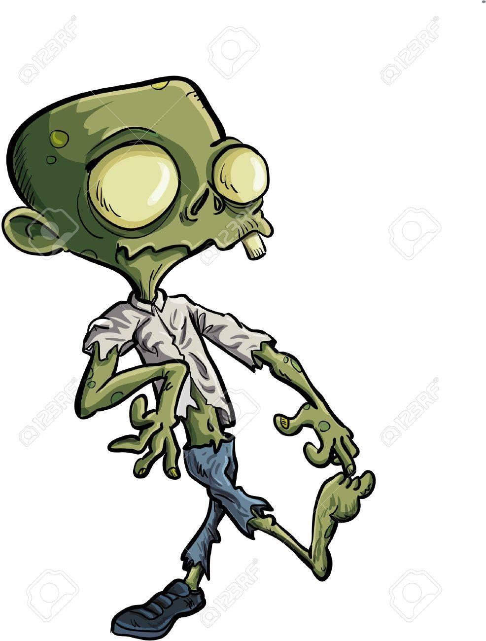 Cartoon Zombie With Huge Eyes Ripped Clothes Royalty Free Cliparts