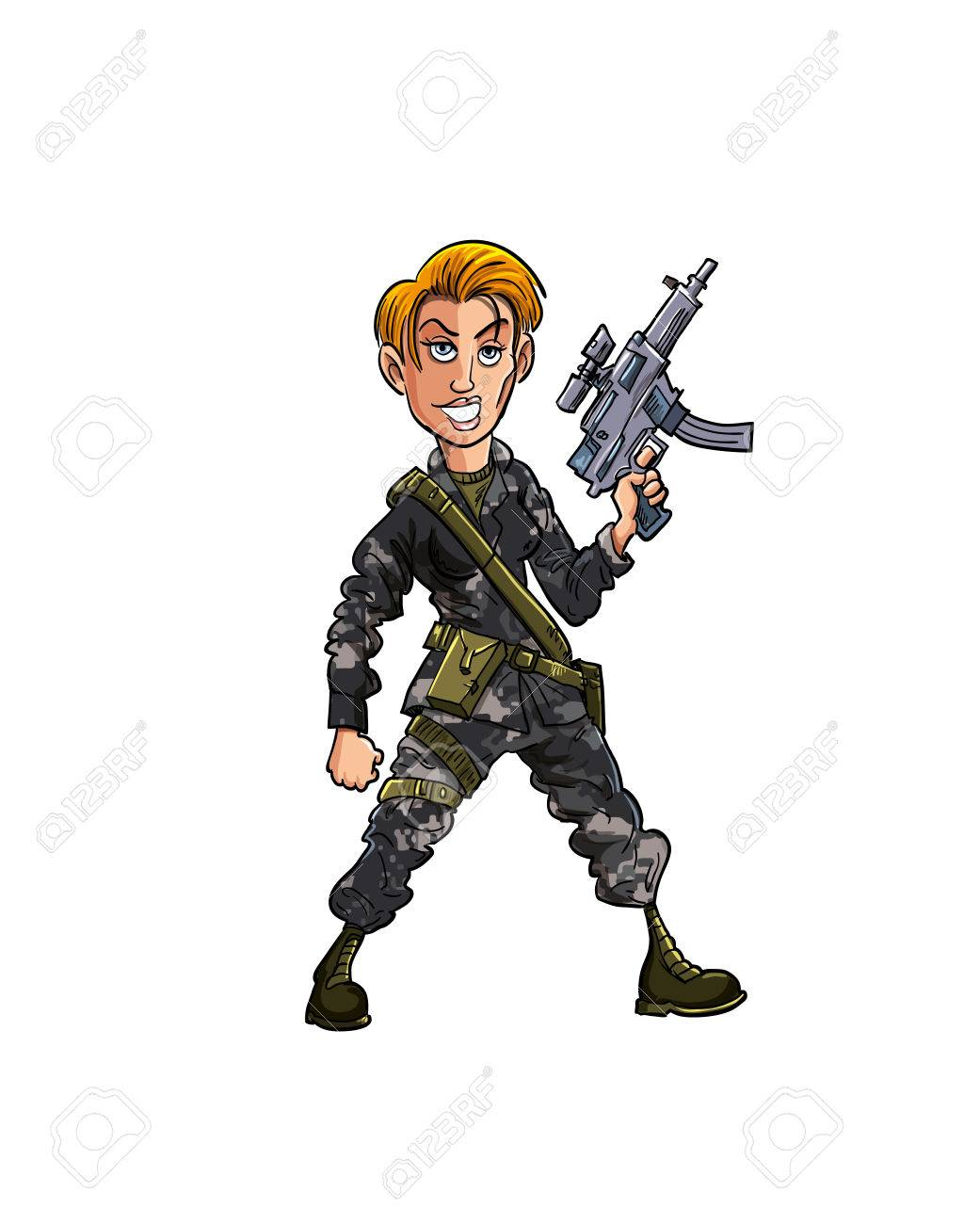 Cartoon female soldier with a sub machine gun  Isolated Stock Vector - 22777426