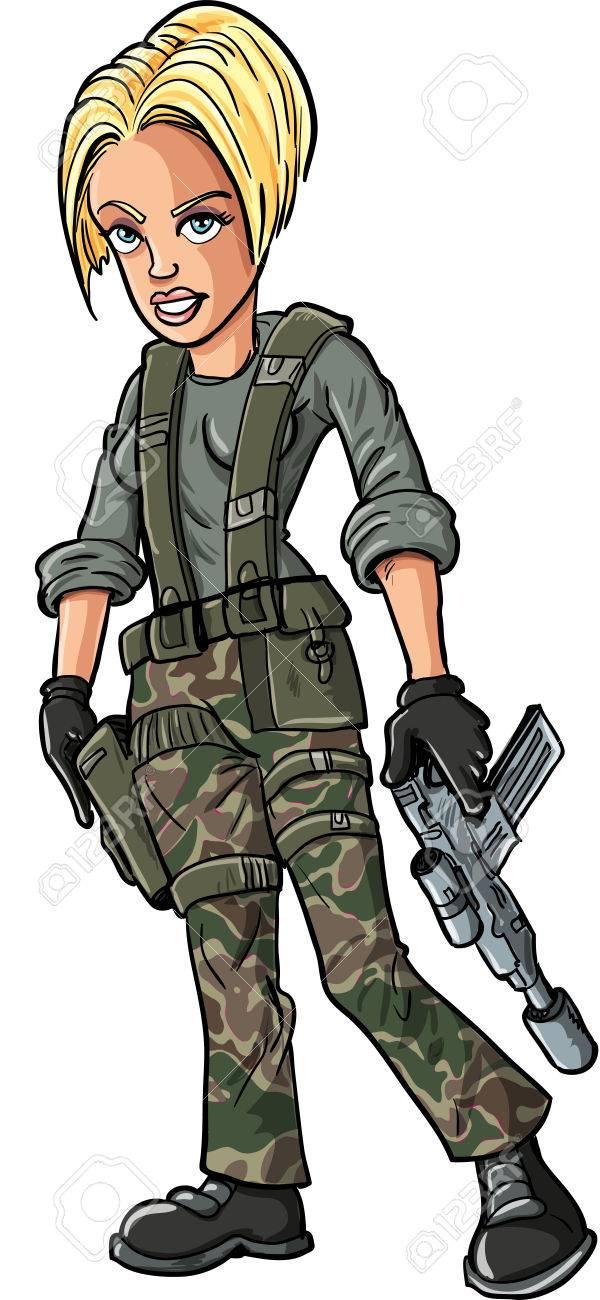 Cartoon Blond Female Soldier With A Sub Machine Gun Royalty Free ...