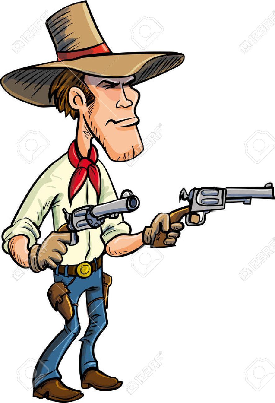 Dessin De Bande Dessinee De Cowboy Armes Isole Sur Fond Blanc Clip Art Libres De Droits Vecteurs Et Illustration Image 25989139