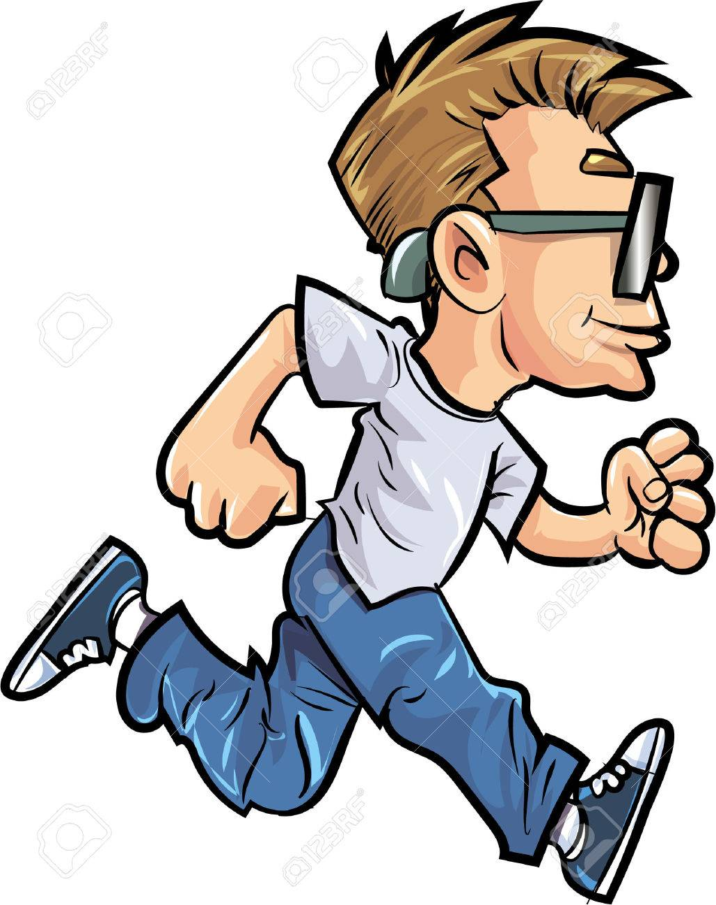 cartoon running man with glasses isolated royalty free cliparts rh 123rf com cartoon person running fast cartoon guy running late
