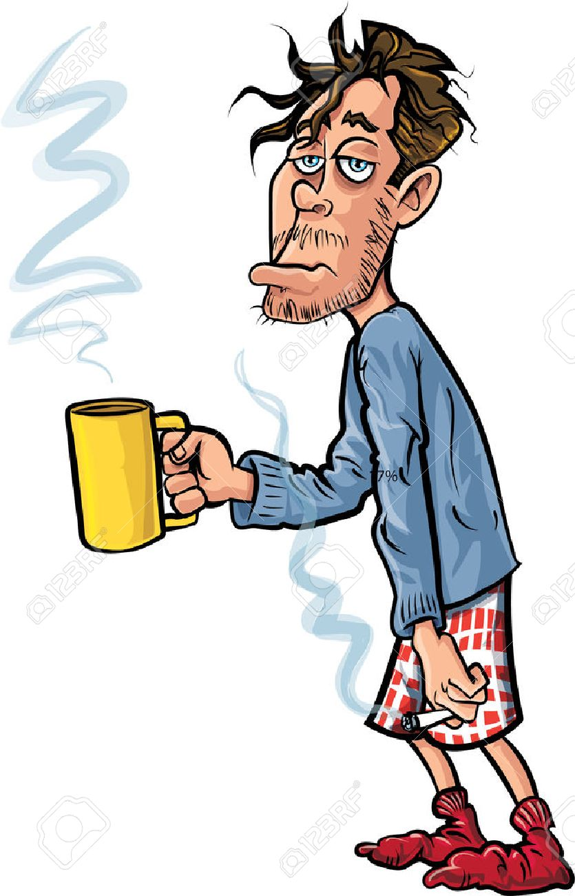 Cartoon youth who has just woken up. He has coffee and a cigarette Stock Vector - 28068179