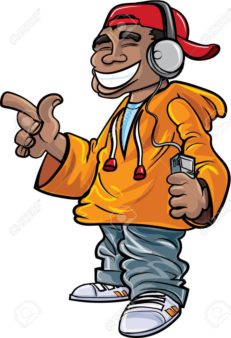 Cartoon Hip Hop Fan With Earphones And A Mini Player Royalty Free