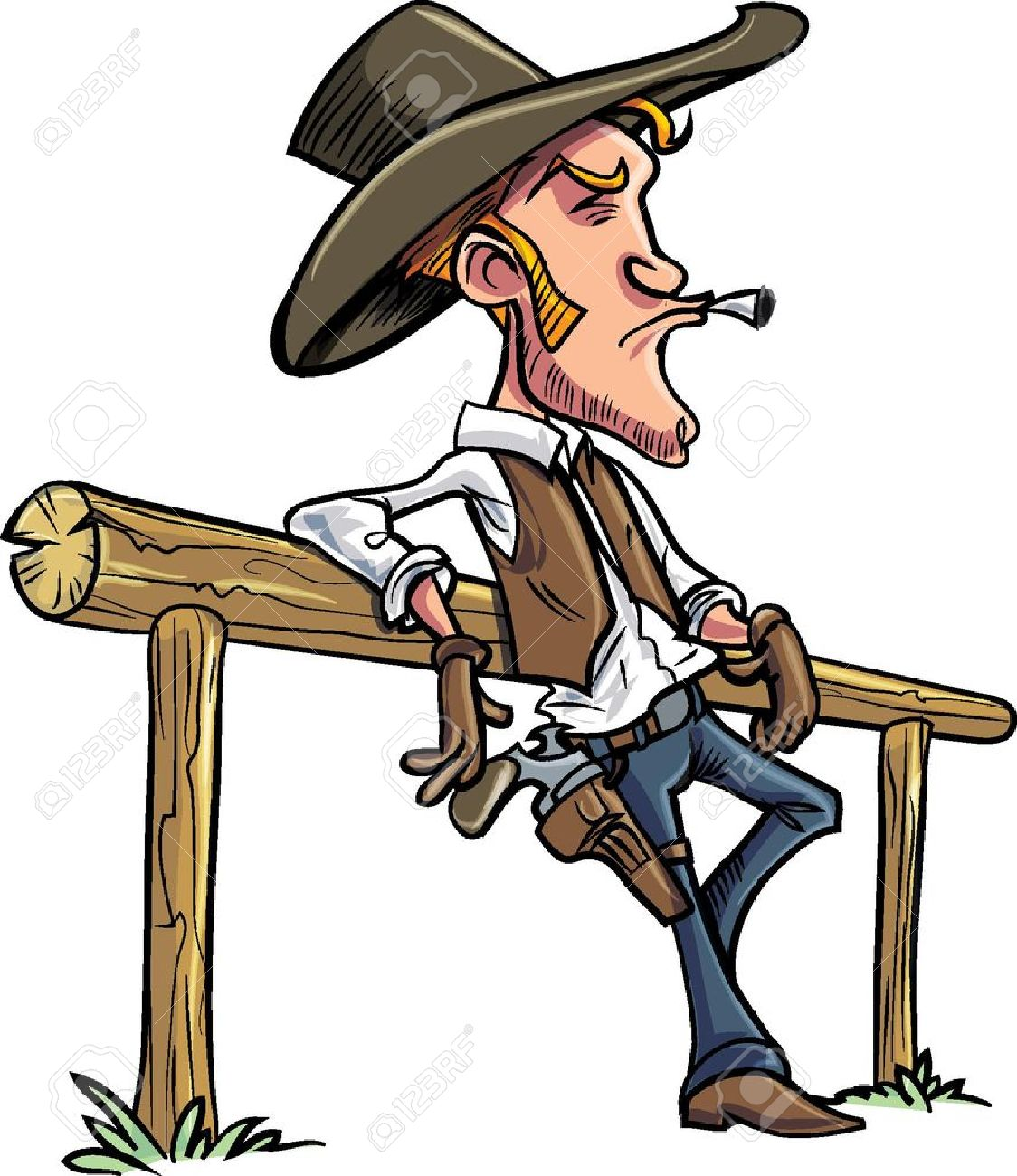 cartoon cowboy leaning on a fence smoking a cigarette royalty free