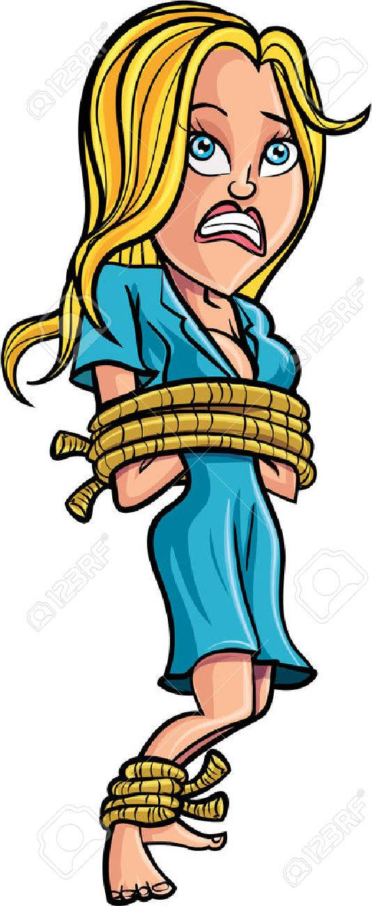 Cartoon tied up woman. Isolated - 41183446