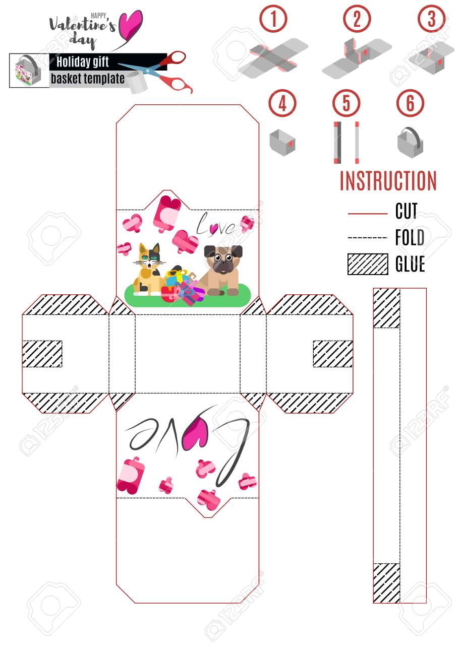 Basket Template | Paper Basket Template With Animals For Love Day Vector