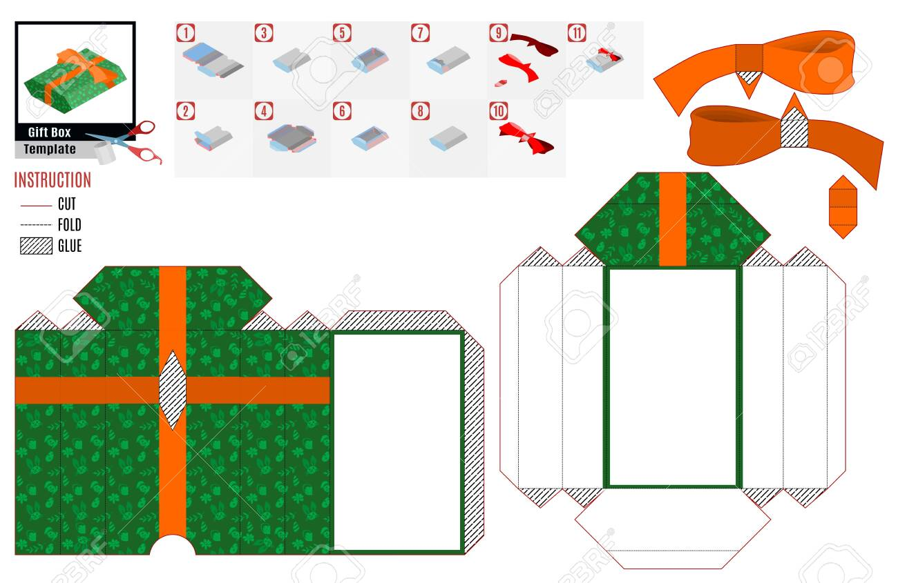 Green Paper Box Template Gift With Orange Bow And Ribbon