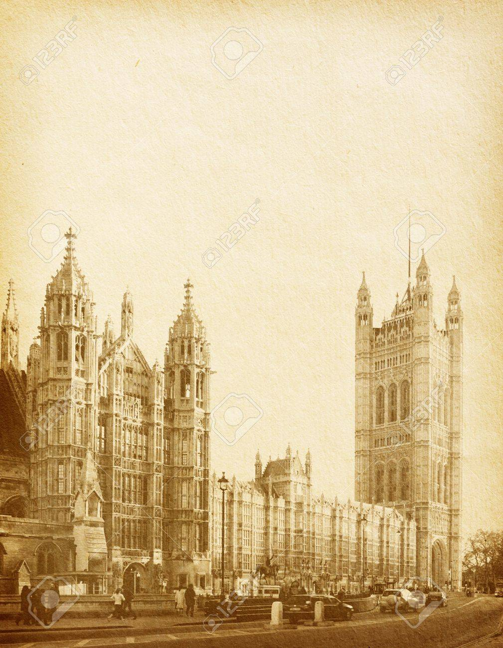 vintage paper textures. Houses of Parliament in London UK view from Abingdon street Stock Photo - 12047028