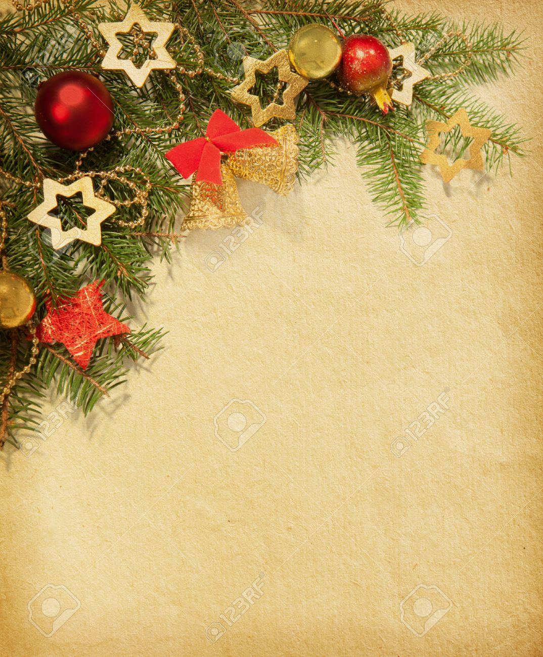Christmas Vintage Border Old Paper Stock Photo, Picture And ...