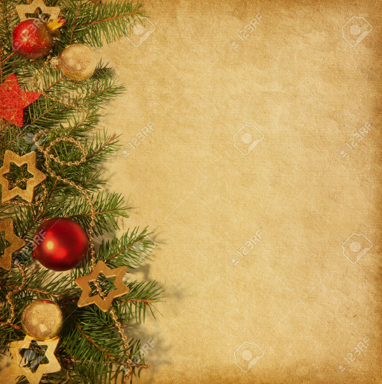 Christmas Ornaments Border: Beige Paper Background With Christmas Border