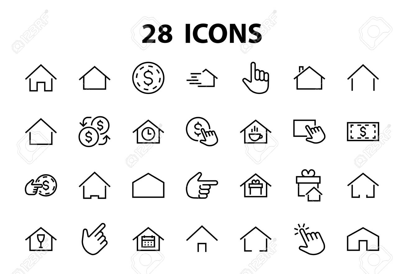 Simple set of color editable house icon templates. Contains such icons, home calendar, coffee shop and other vector signs isolated on a white background for graphic and web design. - 143706900
