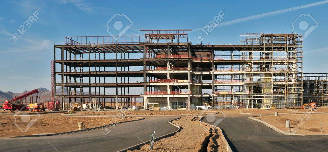 five story buildings steel frame under construction stock photo 4323936