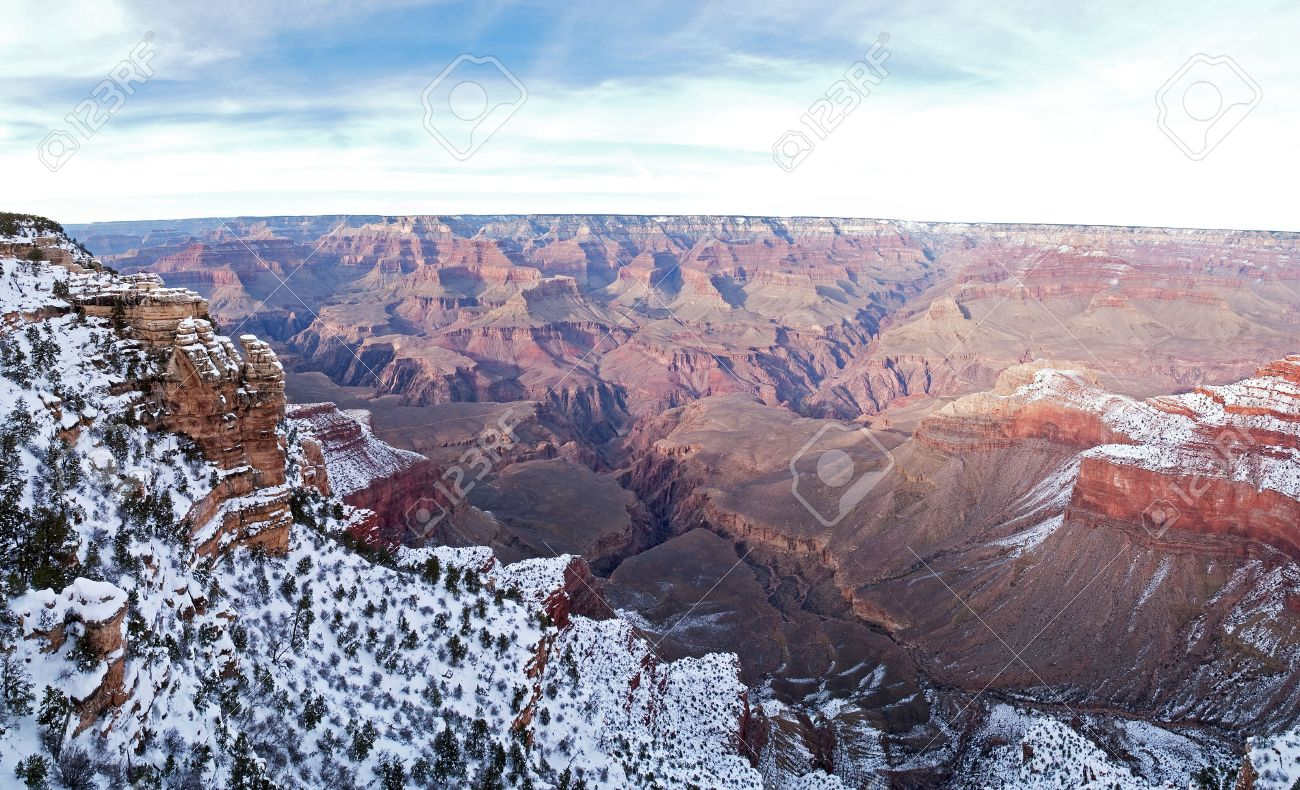 View of Grand Canyon in winter, with snow, from Mather Point. Stock Photo - 6371737