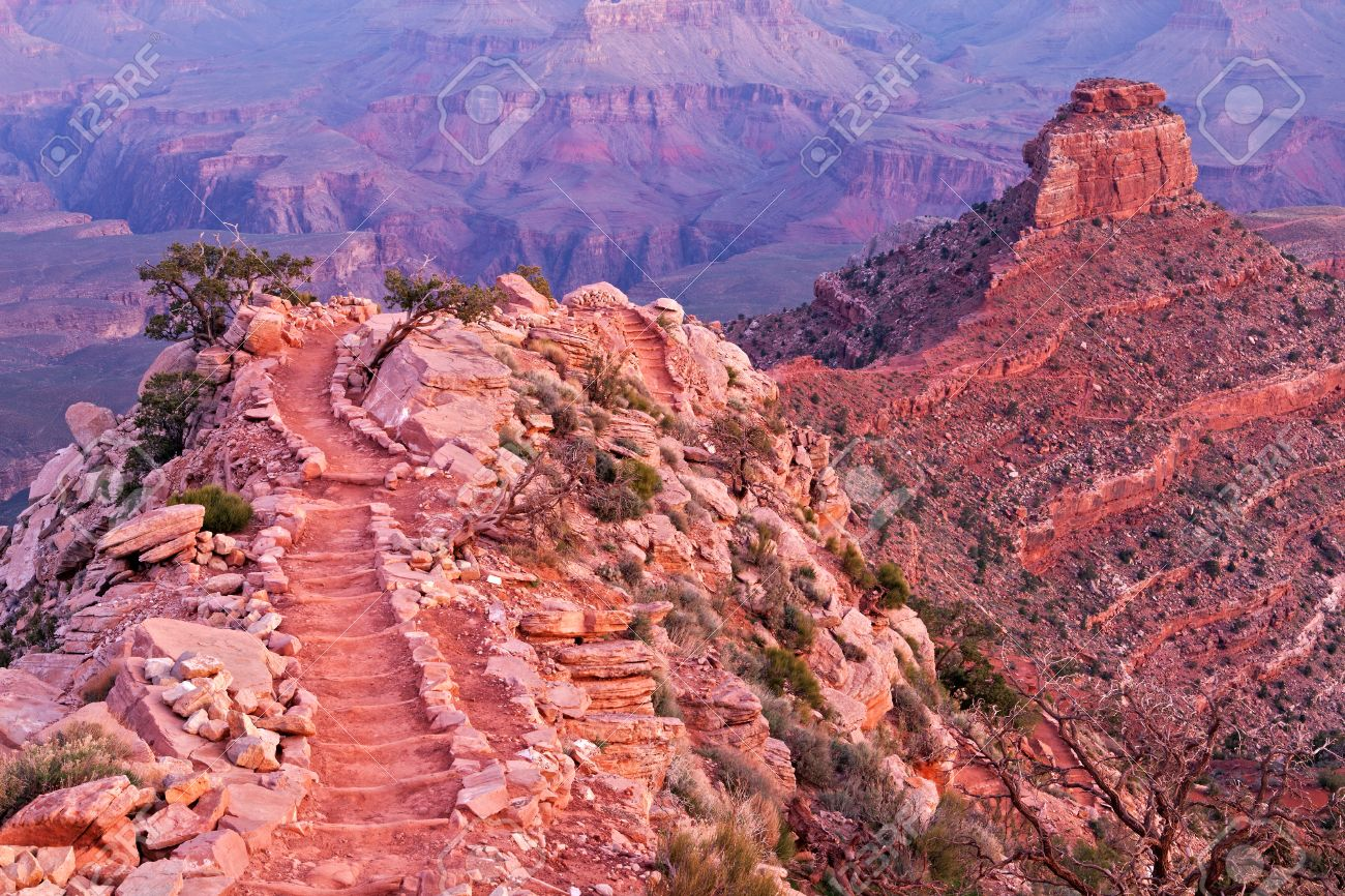 South Kaibab Trail and O'Neill Butte at sunrise. Stock Photo - 9457617