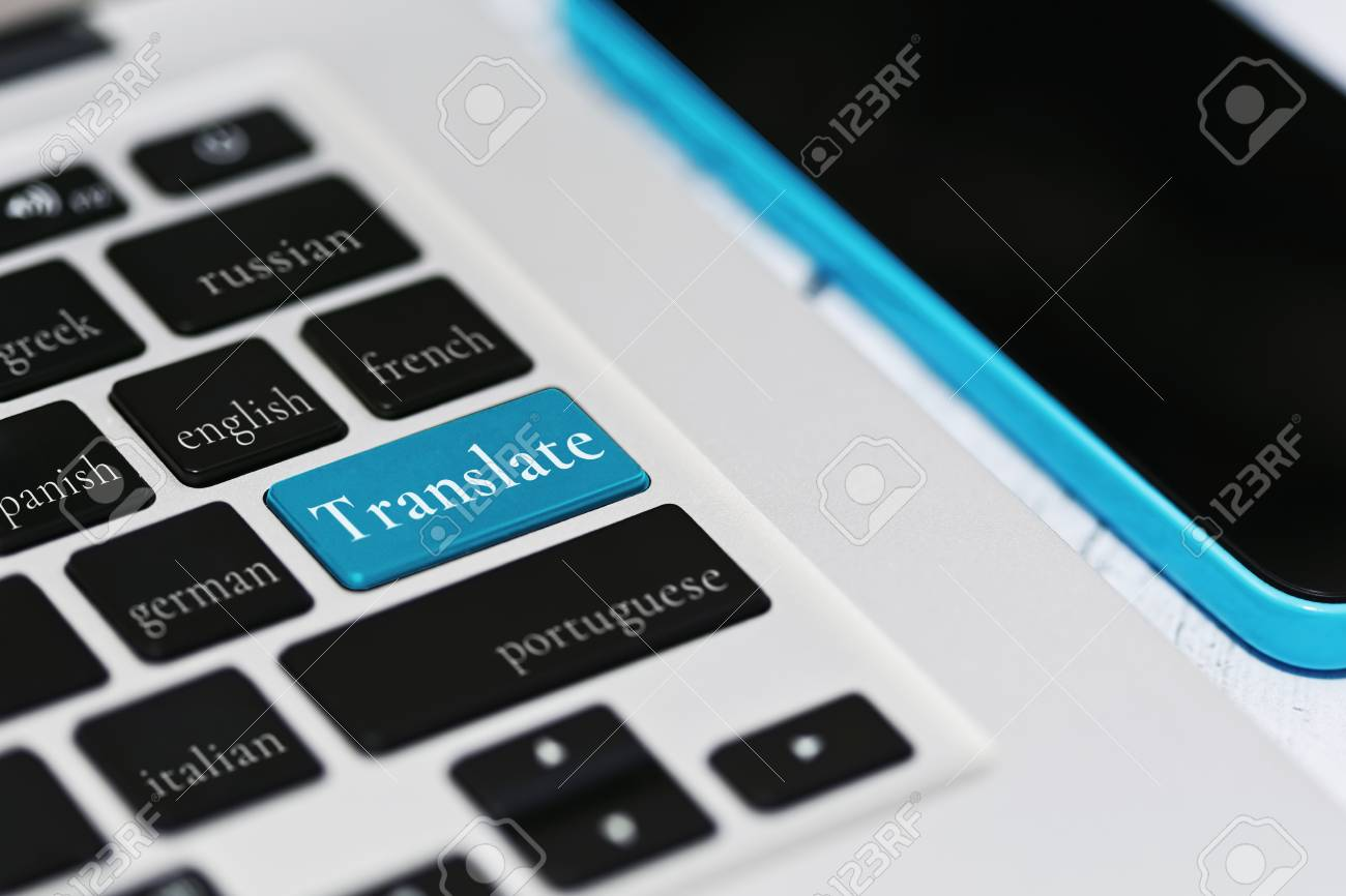 Laptop keyboard with foreign languages names including russian,