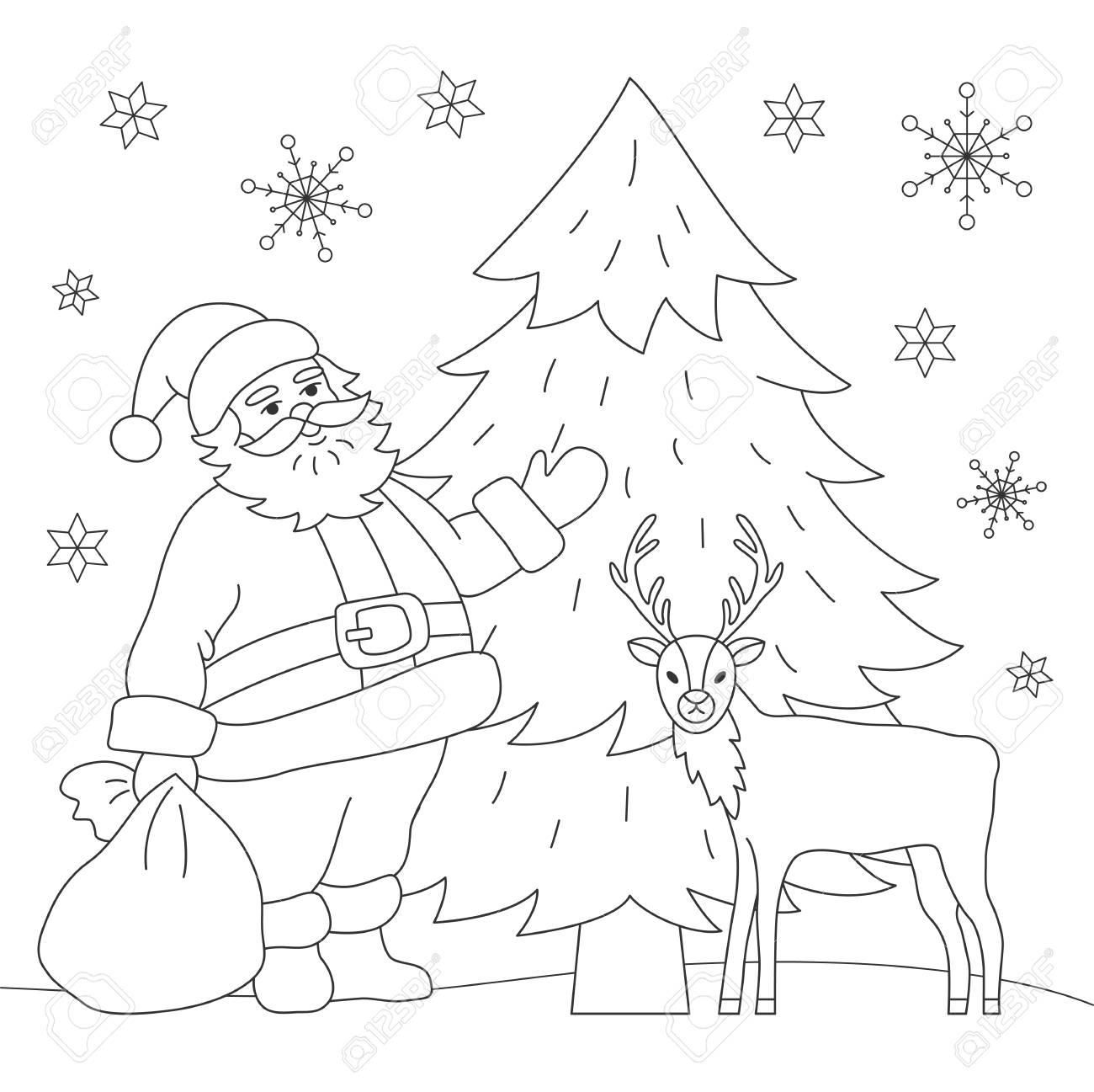 塗り絵サンタと鹿ベクトルの図のイラスト素材ベクタ Image 90325745