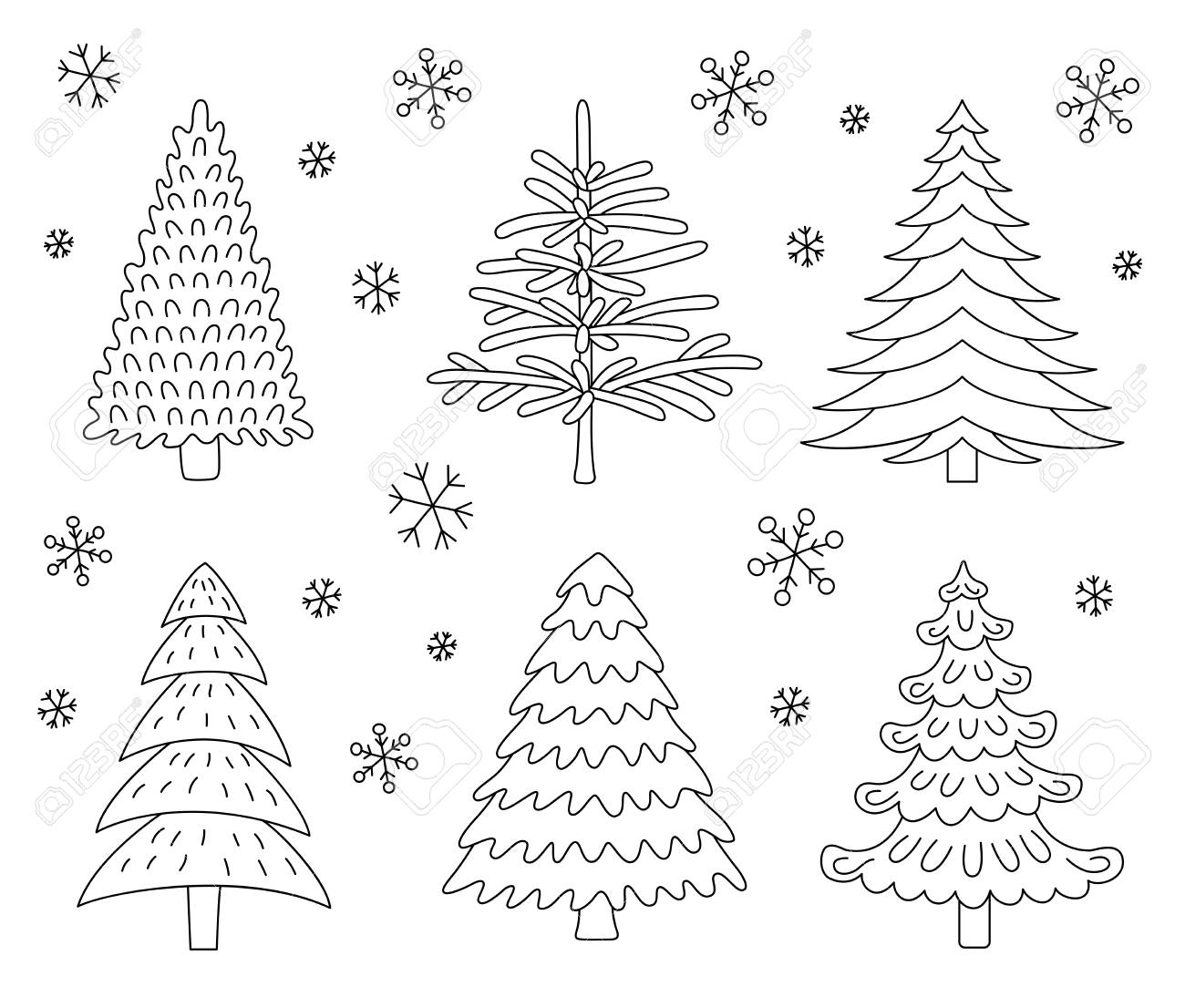 Christmas Tree Icons.Christmas Tree Icons Made In The Style Of A Sketch Vector Illustration