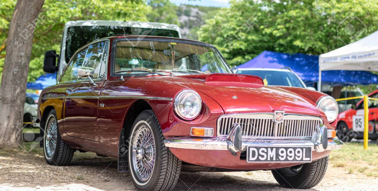 Skradin Croatia June 2020 Classic Old Timer Mgb Gt In Red Color Stock Photo Picture And Royalty Free Image Image 151525297