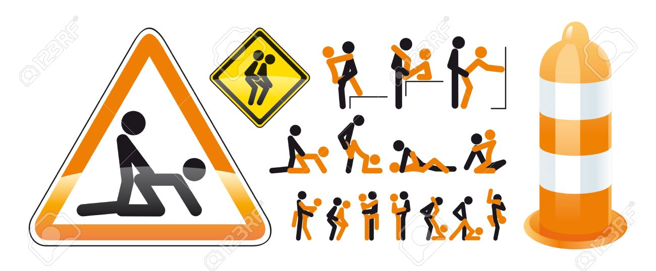 An unusual illustration of the poses in sex with little people on the road signs Stock Vector - 14577936