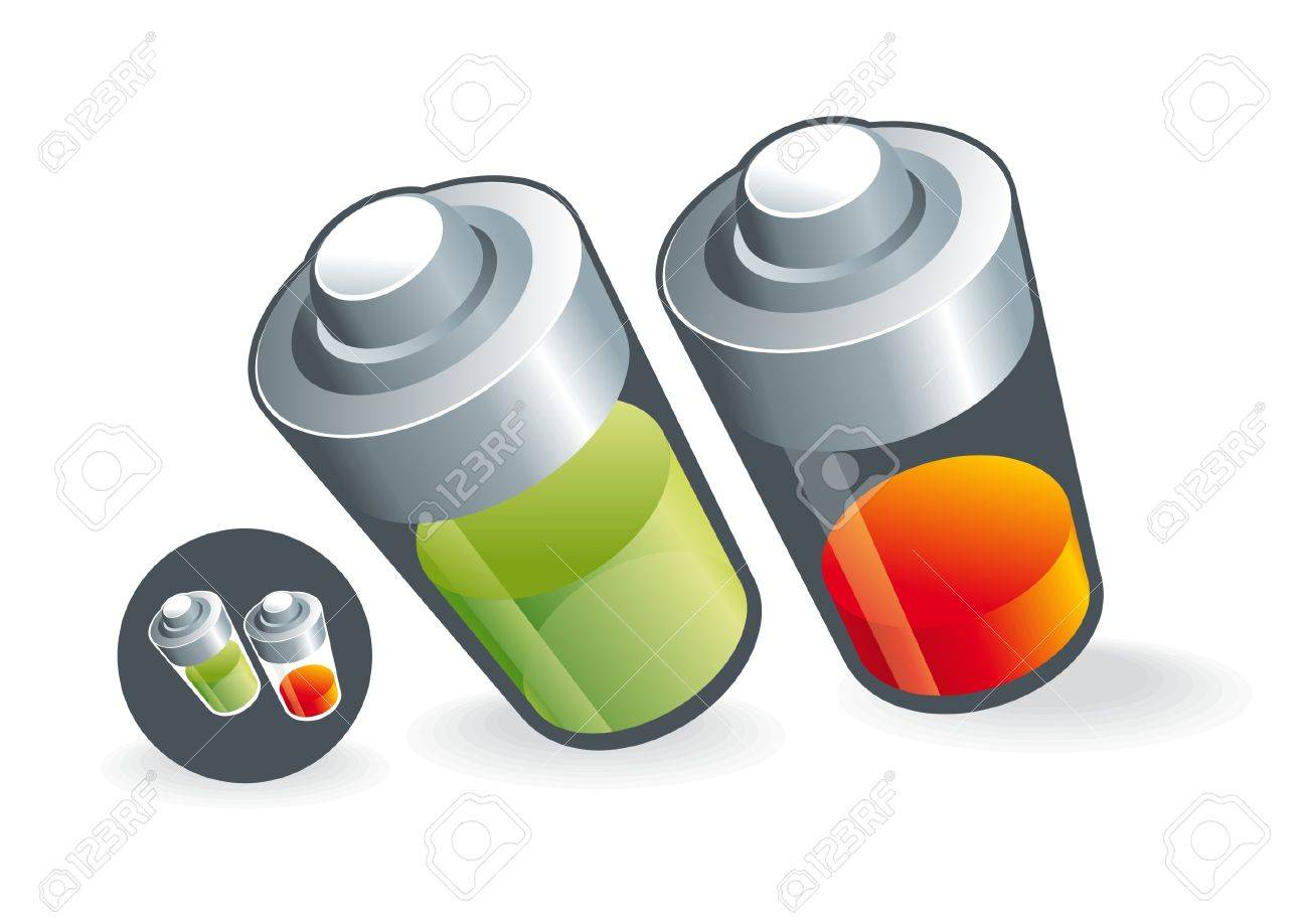 Two battarey charge.  Illustration of two-state batteries for energy. Stock Vector - 14577938