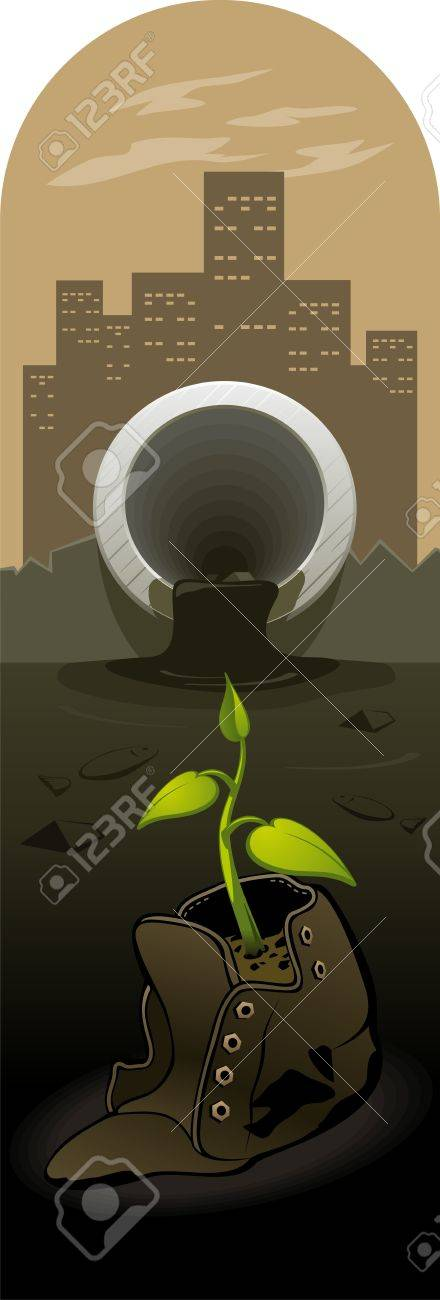 Illustration of the forces of nature, struggling with human waste Stock Vector - 16111644