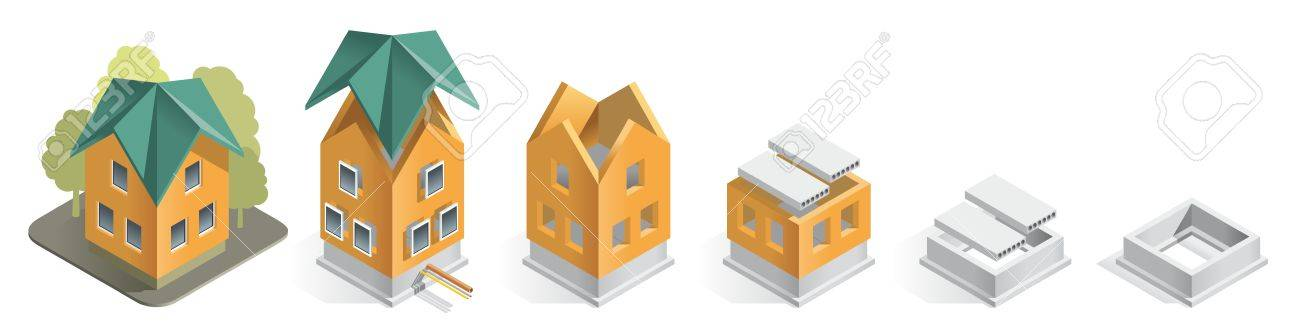 Illustration careful phased construction of a residential home, step by step Stock Vector - 16111661