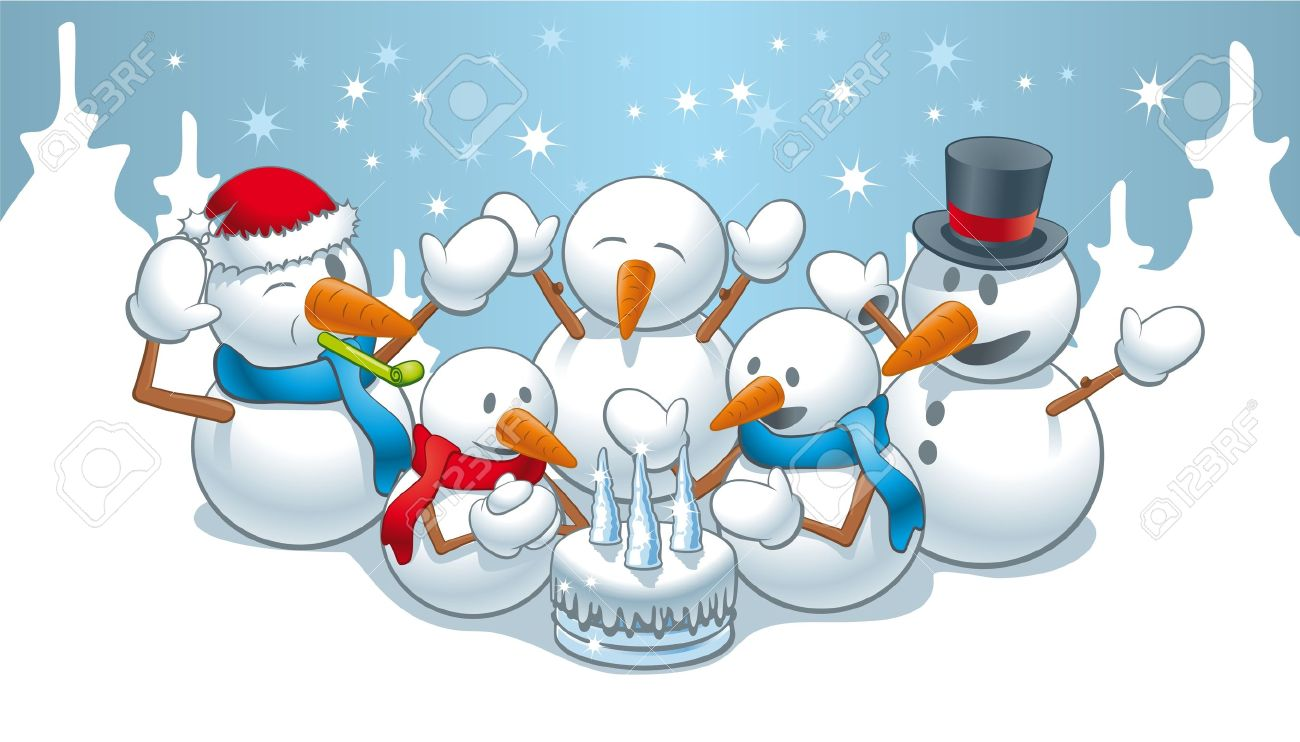 Illustration Of Funny Snowman Family On Birthday Stock Vector