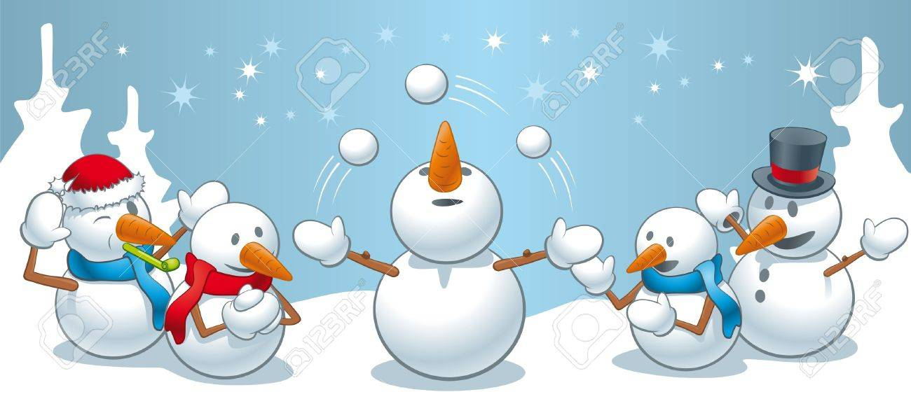 An amusing illustration of little family of snowmen in the woods juggling snowballs and having fun Stock Vector - 17038368