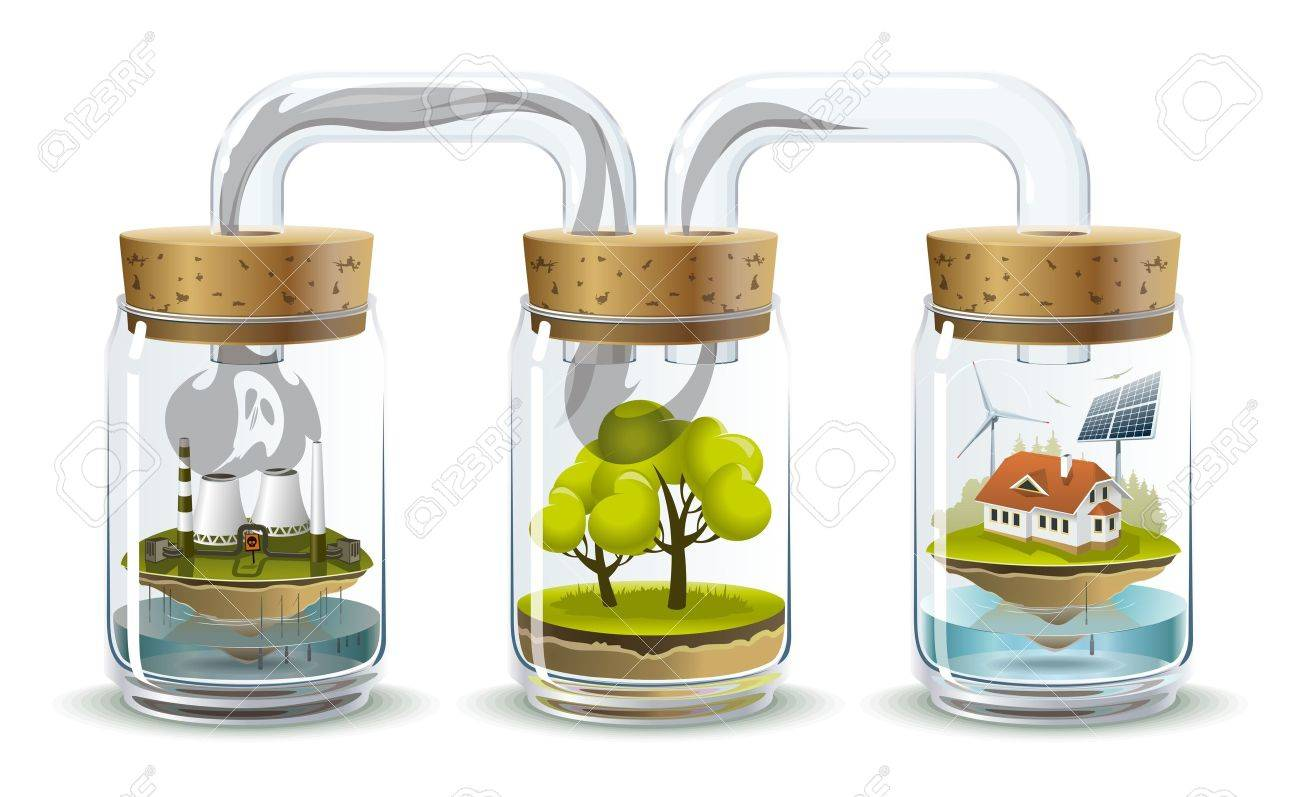 Environmental illustration delicate balance and depending on the nature of human Stock Vector - 17122394