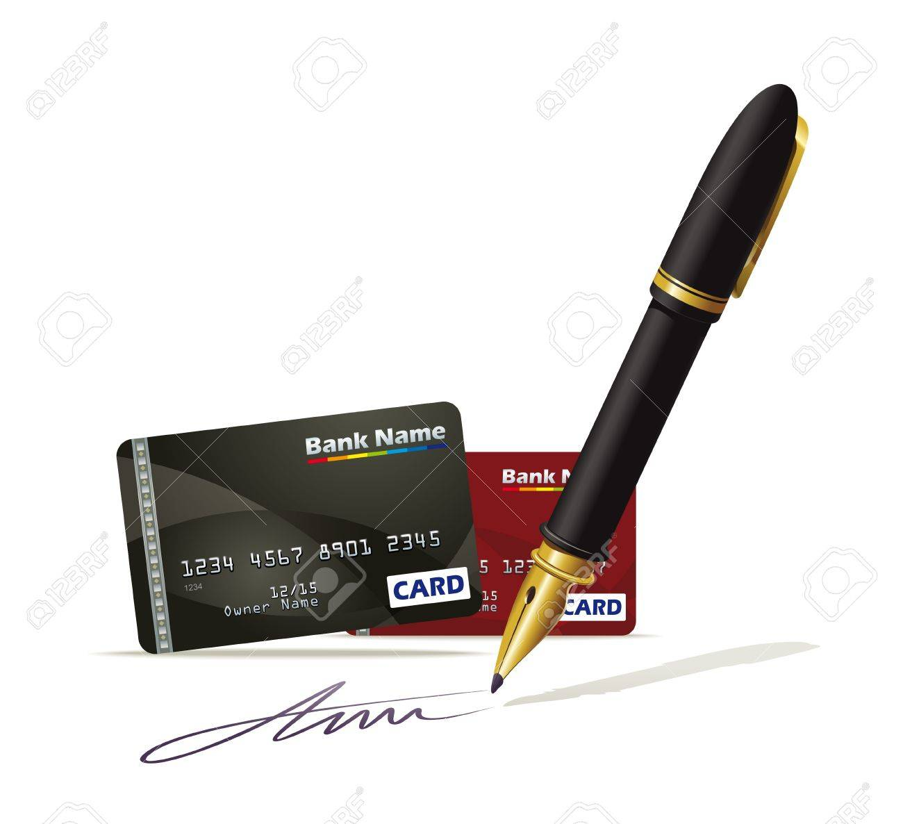 Illustration documenting plastic credit cards Stock Vector - 17467499