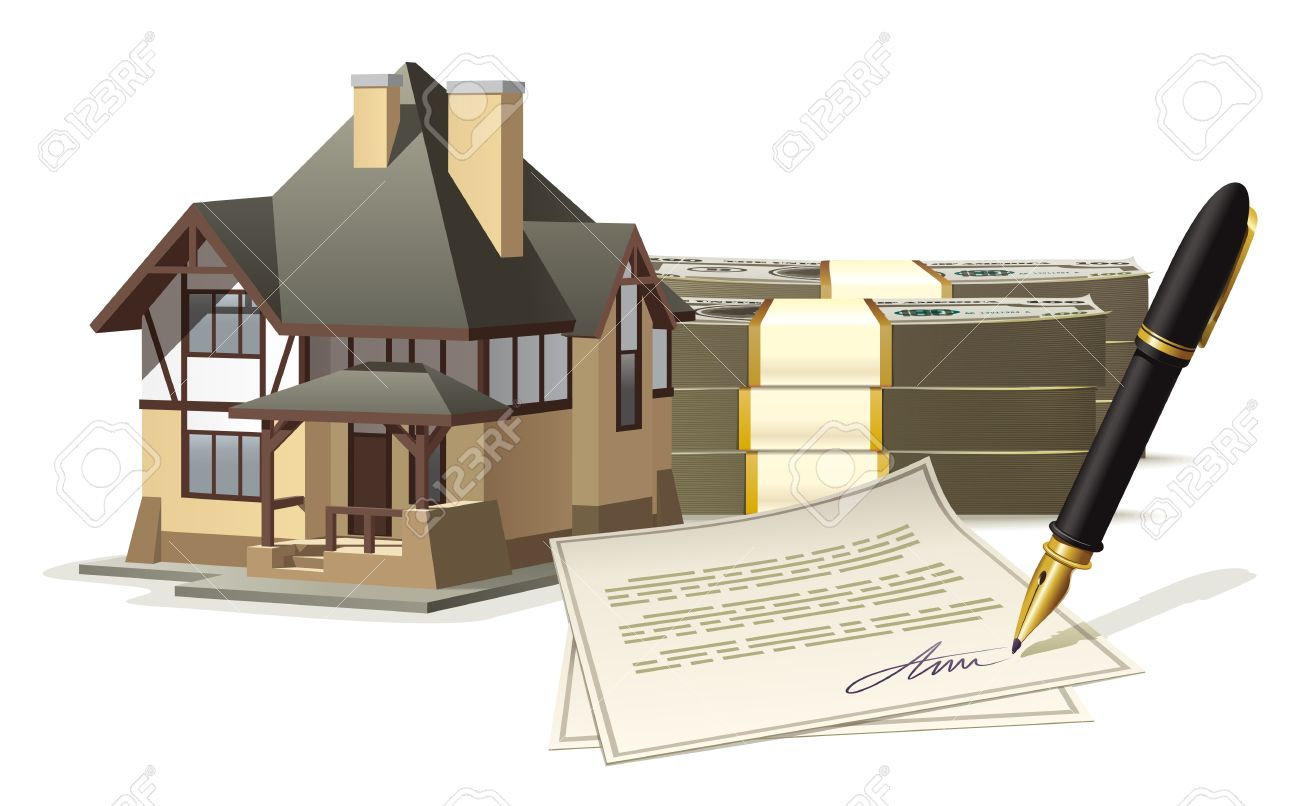 Illustration Of The Purchase Or Sale Of An Individual House For Cash With  The Signing Of