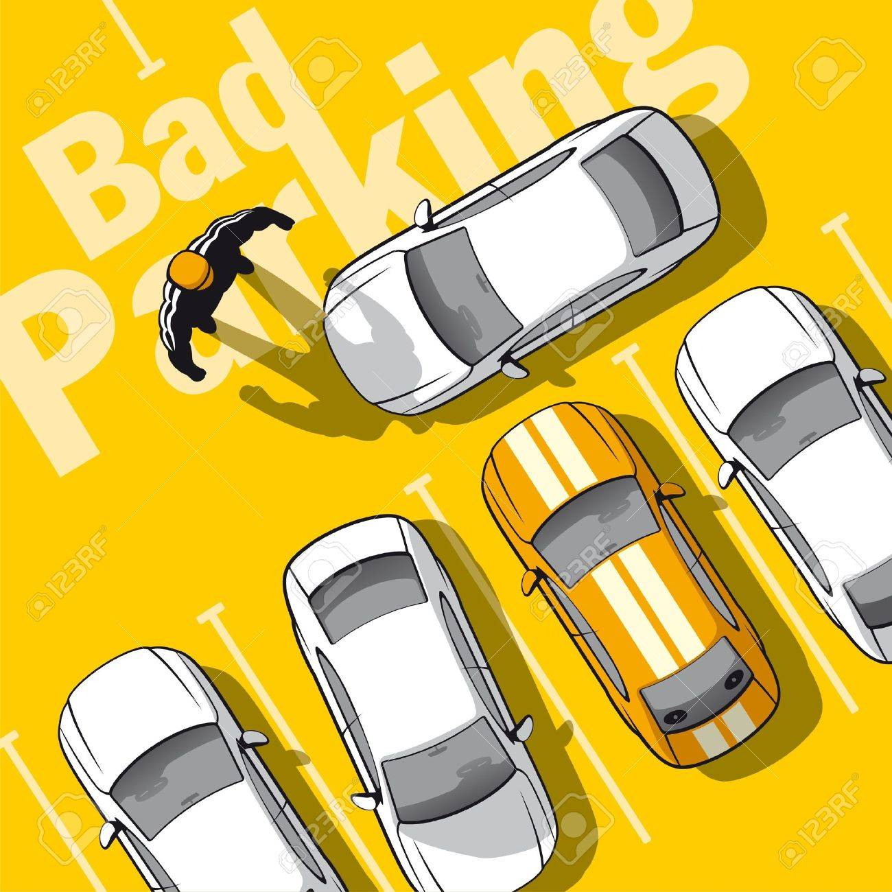 Bad parking. Illustration frustrated owner car that blocked the exit. Stock Vector - 18003019