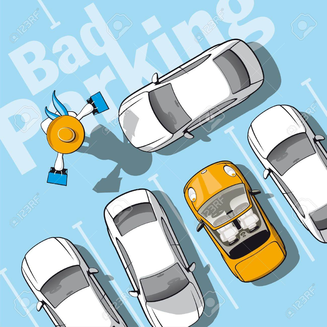 Bad parking  Illustration frustrated car owner who locked while she went shopping Stock Vector - 18393267