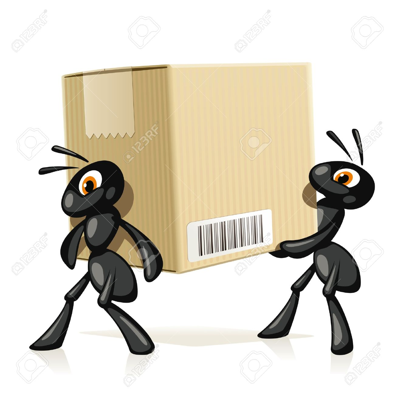 Ants Delivery Two black ants carry a large cardboard box with barcode - 24253822