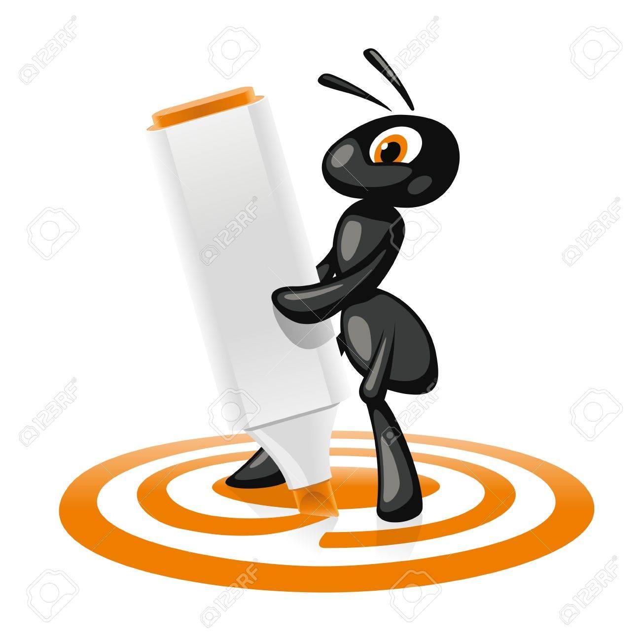 Ant Target  Little ant orange marker outline a goal Stock Vector - 24538927