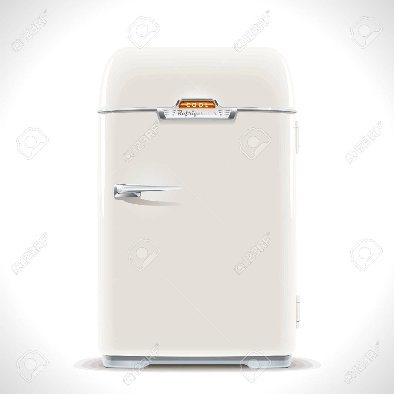 Old Kühlschrank Realistische Darstellung Eines Alten Vintage ...