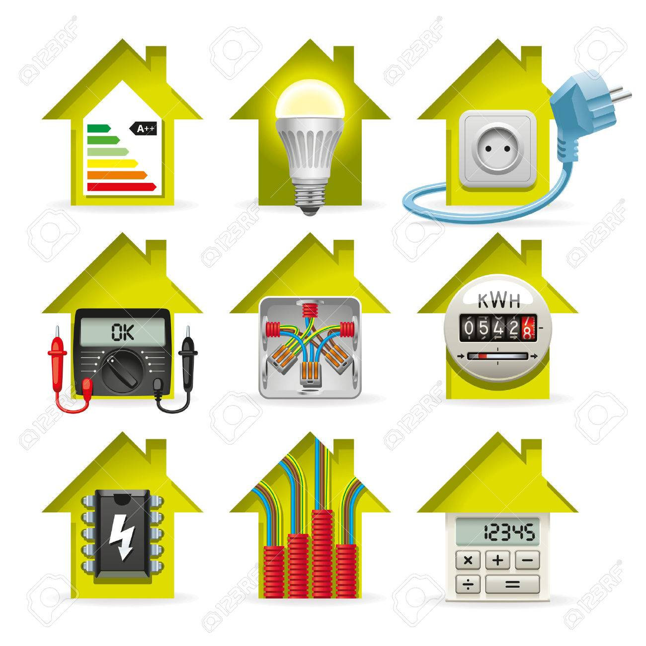 Icons Installation Of Electrical Equipment And Wiring In The House Stock  Vector   34469721