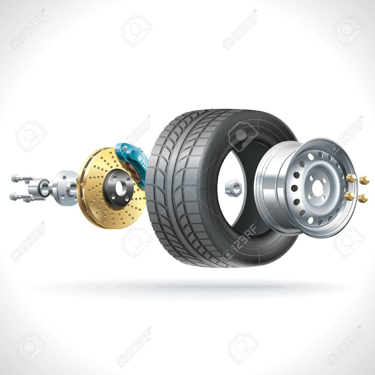 Anatomy Of A Vehicle Wheel Disposed On One Axis Royalty Free ...