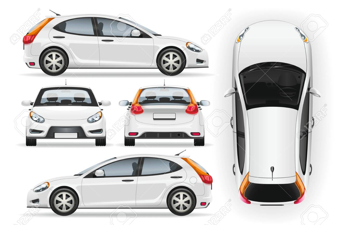 Car vector template on white background. Business hatchback isolated. Vehicle branding mockup. Side, front, back, top view. - 131596516