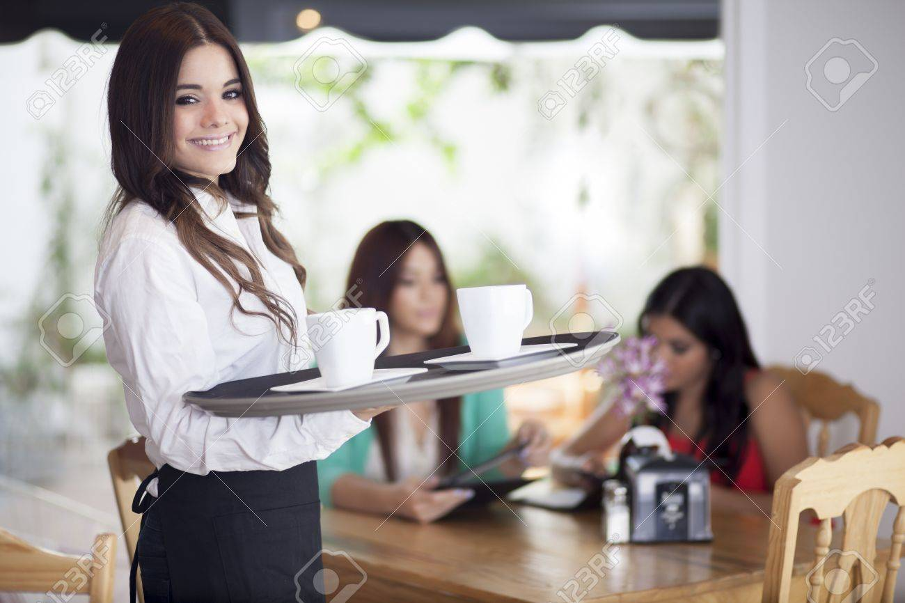 serving coffee with a smile stock photo picture and royalty free  - serving coffee with a smile stock photo