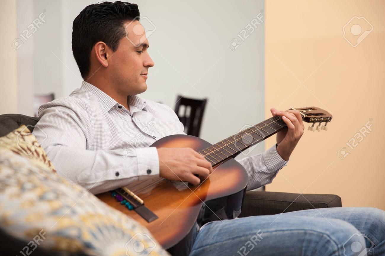 Stock Photo Young Hispanic man relaxing