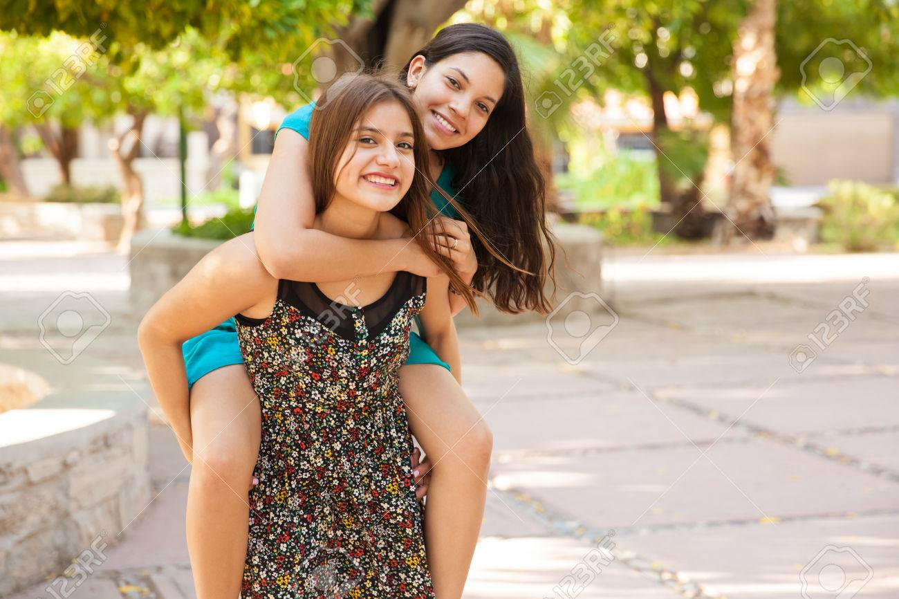 Cute teens get together