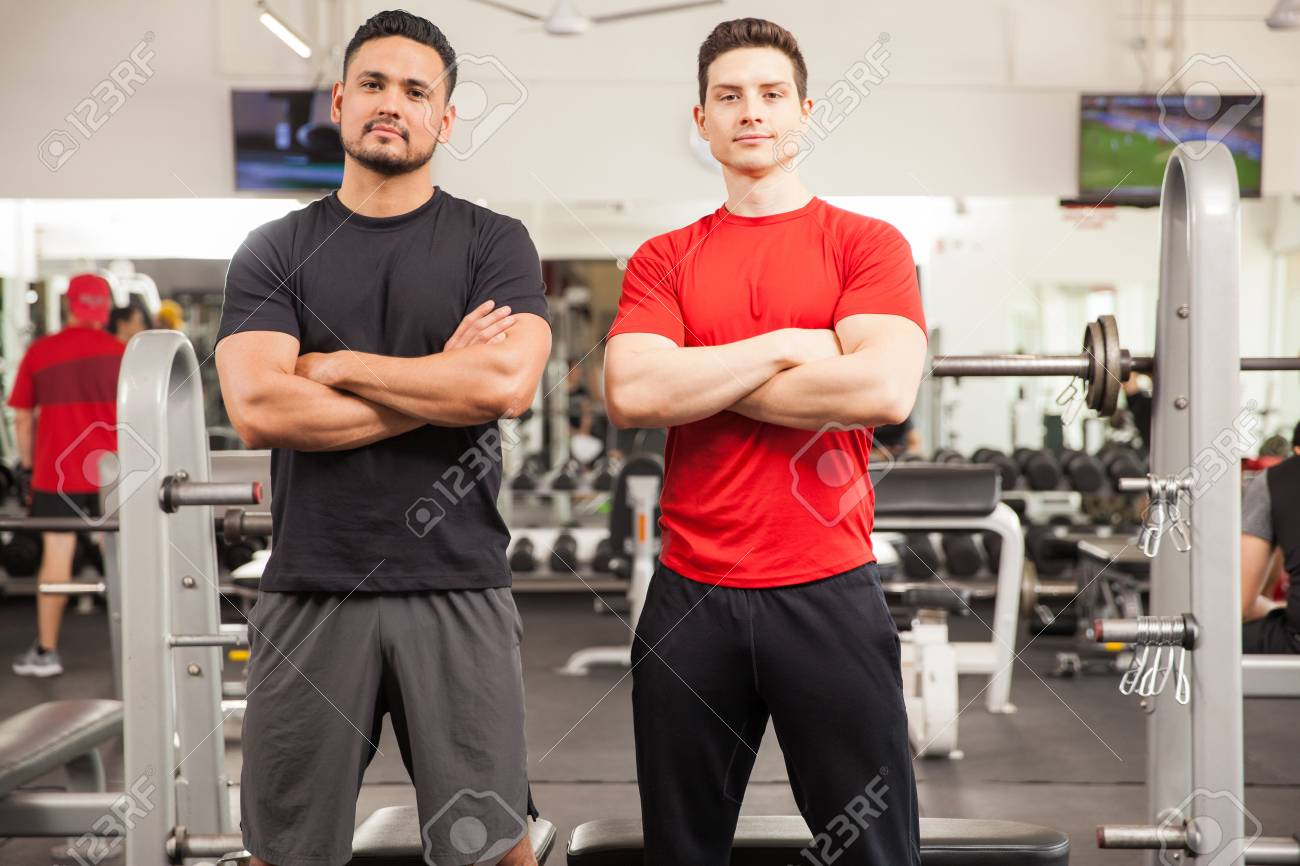 Personal Trainers In A Gym And.. Stock